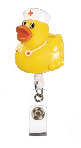 Prestige Medical S14-ydk Retractable Badge Holder with Bulldog Clip, Yellow Duck