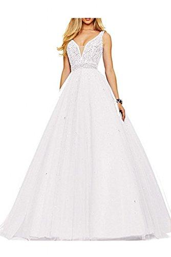 Weiß Promkleider Damen Ausschnitt Abiballkleider Lang V La Braut Pfirsisch Marie Abendkleider Ballkleider Tuell HnTZwU6q