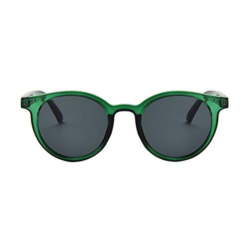 Verde Verde Colores Redondas Marco Retro Unisex Gafas Mujer de Sol Eyewear LINNUO Hombres Sunglasses ARqOPxw