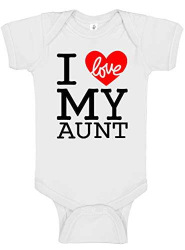 (Cute Baby Boy & Baby Girl Clothes - Handmade Bodysuits I Love My Family (Newborn (0-3 Fit), I Love My Aunt White))