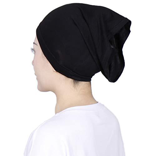 LMVERNA Under Scarf Hijab Tube Cap with Brim Bonnet Hijab Bone Chemo Hat Inner Hats (Black2)