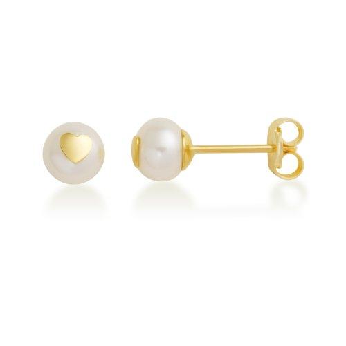 Miore - MK9011E - Boucles d'Oreilles Enfant - Coeurs - Or jaune 375/1000 (9 carats) 0.39 gr - Perle de Chine
