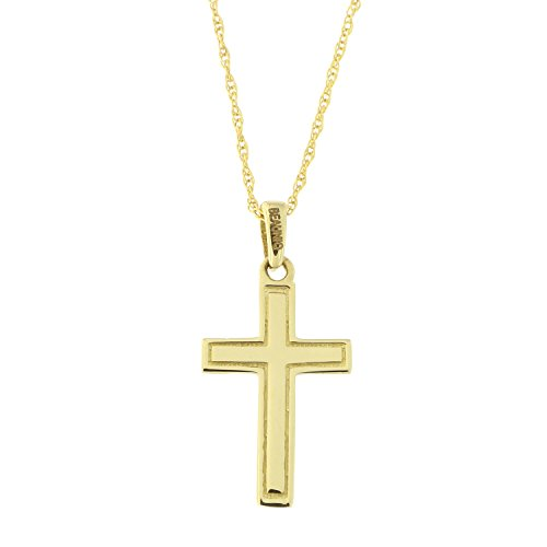 Beauniq 14k Yellow Gold Etched Outline Cross Pendant Necklace, 18