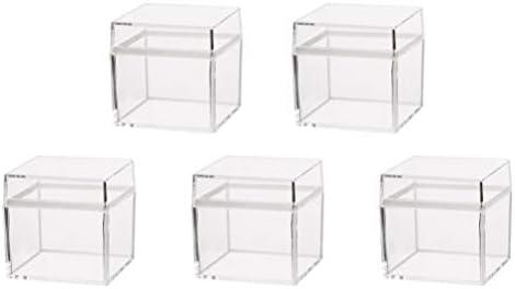 Yardwe 5 UNIDS Caja de Almacenamiento de Alimentos Cajas de Joyas Decorativas de Calidad Alimentaria Cuadrado Ambiental Transparente Caja de Dulces de ...