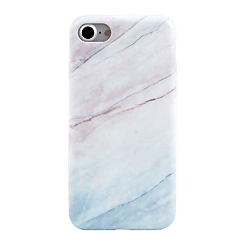 iPhone 7 Case, Leminimo Premium Coral Marble Case With Exact Fit Shockproof Anti-Scratch Anti-Fingerprint / No Bulkiness Soft Case for iPhone 7 (2016) - Colored Marble