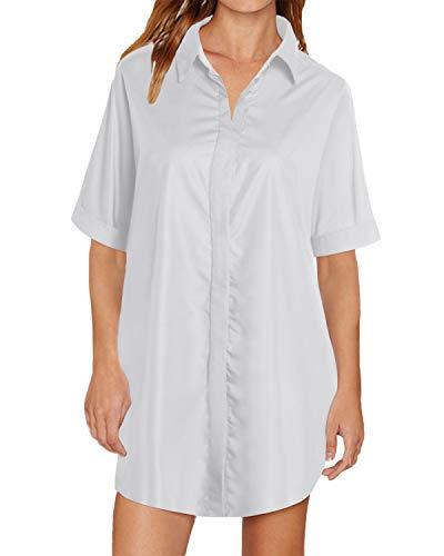 Auxo Damen Blusen Langarm V-Ausschnitt Longshirts Oversize Hemd Tunika Lose Oberteile