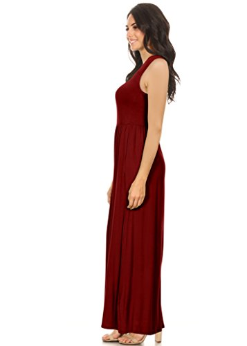 Scoop Simlu Women's Elastic Burgundy Sleeveless with Neck Maxi Empire Pockets and Rayon Dress Waist Long AR4Aq0x1