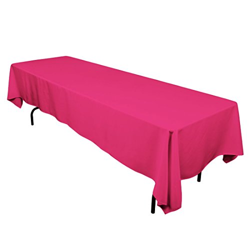 "Gee Di Moda Rectangle Tablecloth - 60 x 126"" Inch - Fuchsia Rectangular Table Cloth for 8 Foot Table in Washable Polyester - Great for Buffet Table, Parties, Holiday Dinner, Wedding & More"