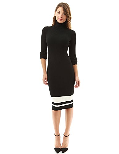 PattyBoutik Women's Turtleneck Ribbed Sweater Dress (Black and Ivory S)