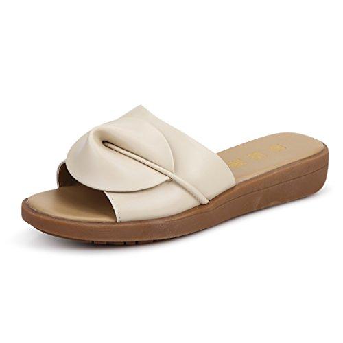 PENGFEI Beige slippers Color slippers summer Size 240mm White bottom L slip Thick UK5 Non Surfing Beach sandals 5 EU38 Female rAHxr