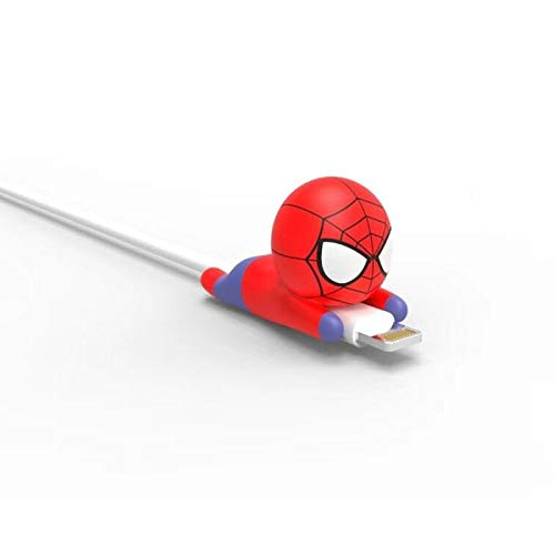 Spider Super Hero Man Cable Accessory Cable Animal Bites Cartoon USB Charger Data Cable Cord Protector for iPhone 8 7 6 USB Cable Protection, Accessory chompers Hero Model Funny ()
