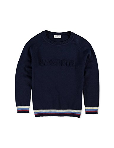 Lacoste Boy's Navy Sweater With Lettering in Size 8 Years (128 cm) Navy by Lacoste