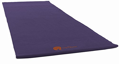 MyQuest Bikram Hot Yoga Towel - Microfiber Non Slip Yoga Mat Towel With Premium Carry Bag (Standard Size Purple)
