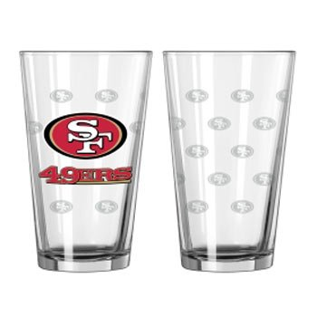 (San Francisco 49ers Satin Etch Pint Glass Set)