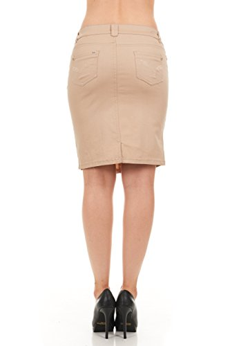 FGR Girl's Stertchy Cotton 5 Pocket Color Denim Skirt Khaki Size 12 by FGR (Image #2)
