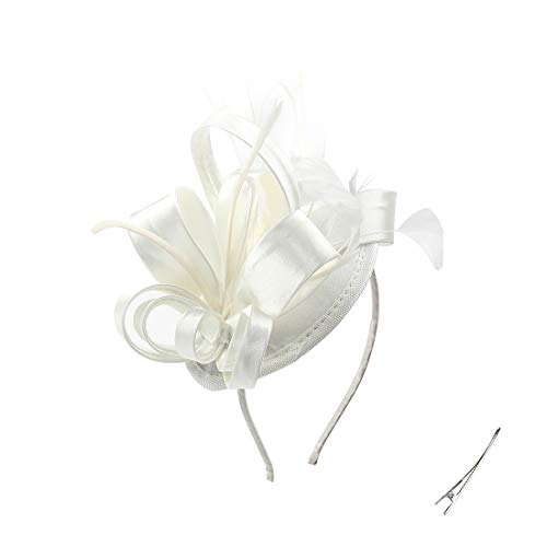 Felizhouse Fascinator Hats for Women Ladies Feather Cocktail Party Hats Bridal Headpieces Kentucky Derby Ascot Fascinator Headband (Cream White)