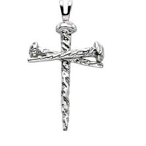 Or blanc 14 carats Pendentif Croix 34 x 24 mm-JewelryWeb