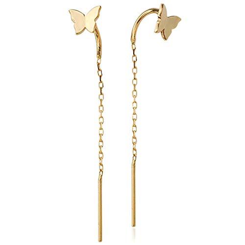 (OwMell 925 Sterling Silver Butterfly Tassel Earrings 18K Gold Plated Long Threader Earrings Chain for Women Girls)