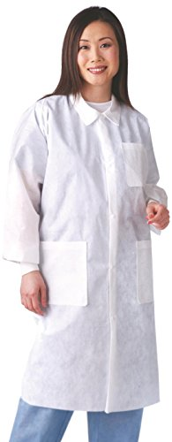 (Medline NONSW100xxxL Multi-Layer Lab Coat with Knit Cuff and Traditional Collar, 3X-Large, White (Pack of 30))