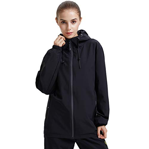KARMARY Women Waterproof Lightweight Rain Jacket Windbreaker Active Outdoor Hooded Coat No Fleece Lined Running Hiking Jacket