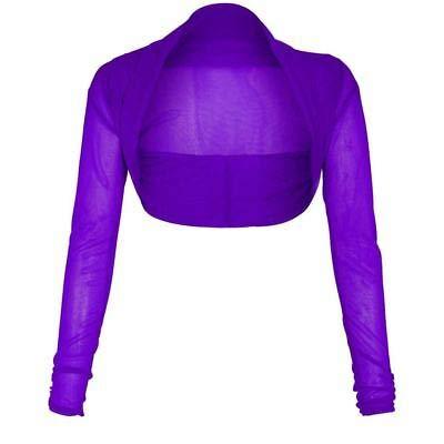 Lamour Women Full Mesh Sheer Chiffon Bolero Cropped Shrug Top Cardigan