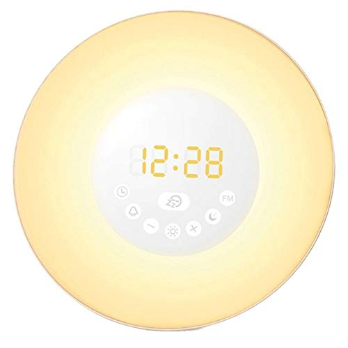 Wake Up Light, [2018 Upgraded] Auelek LED Digital Alarm Clock with 7 Color Night for Bedside and Children, Multiple Nature Sounds, Sunrise and Sunset Simulation, FM Radio and Touch Control with Snooz