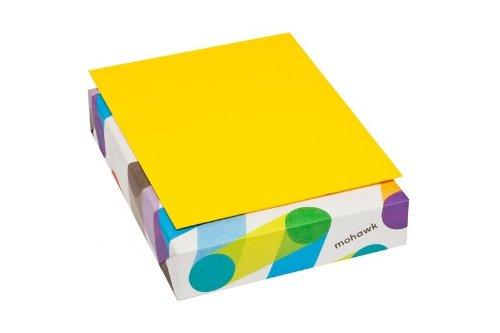 Mohawk BriteHue 24 lb/60 Vellum Text Paper, 8.5 x 11 Inch, 500 Sheets/Ream - Sold as 1 Ream, Sun Yellow (102996)