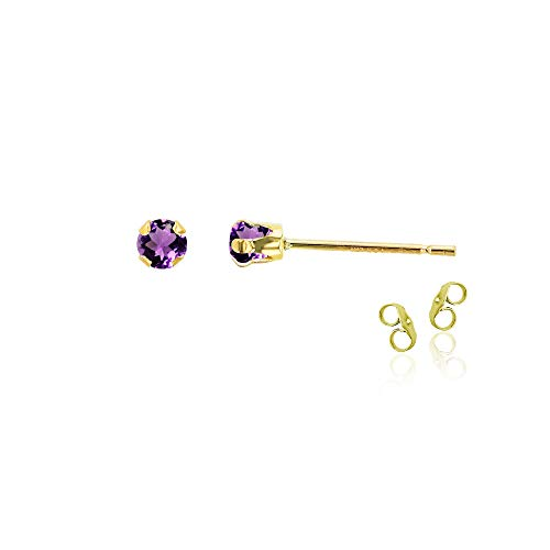 14K Solid Yellow Gold Plated 925 14K Yellow Gold Plated 925 Sterling Silver 3mm Round Natural Purple Amethyst February Birthstone Stud Earrings