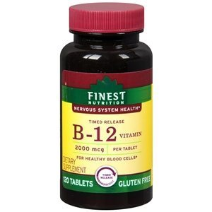 Finest Nutrition Timed Release Vitamin B12 2000mcg, Tablets, 120 (Release B-12 Vitamins)