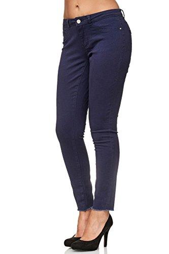 Jeans Tubo D2398 Pantaloni Skinny Caviglia Donna Marina Reg w1xaXU1fqT