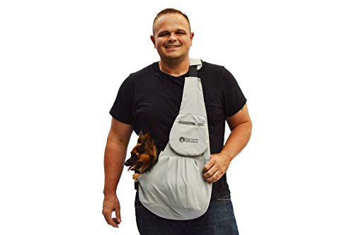 Cozy Courier Pet Products Grey Pet Sling Carrier for Small Dogs - Now with 50% More Padding and Secure Zippered Pocket