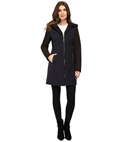 MICHAEL Michael Kors Zip Front Softshell with Hood and Quilted Sleeves M522320T New Navy Women's Coat