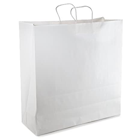 Amazon.com: White Kraft Paper Shopping Bag with Twisted Paper ...