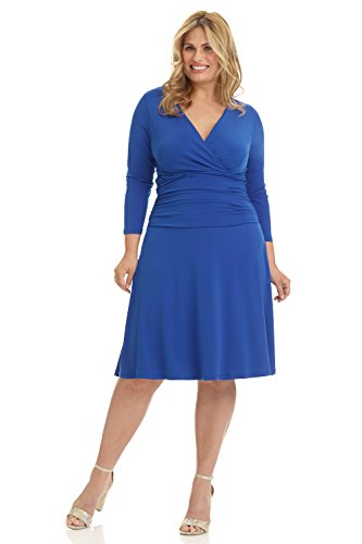Rekucci Curvy Fit Plus Size Women's Slimming 3/4 Sleeve Tummy Control Dress (16W,Royal) - Plus Size Designers