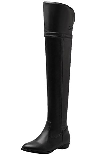 BIGTREE Over The Knee Boots Women Autumn Winter Comfortable Flat Buckle Thigh High Boots Black