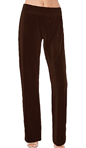 Ooh la la Miises or Plus Size Stretch Velvet Special Occasion Full Length Straight Leg or Harem Dress Pant (Plus 2X, Brown Straight ()