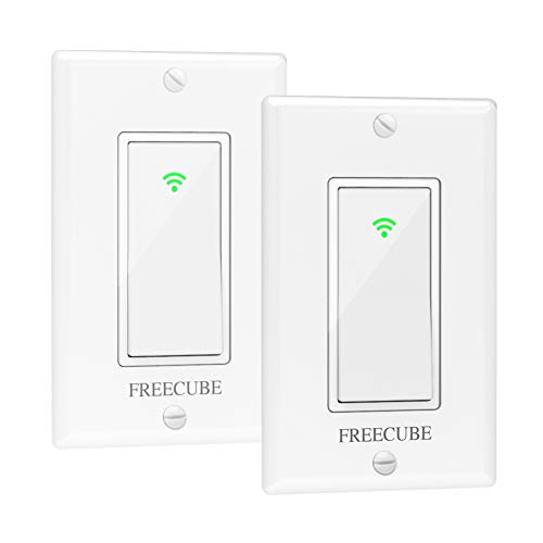 Smart Switches that Work with Alexa, Google Home and IFTTT, FREECUBE WIFI Light Switch Need Neutral Required, Remote Control, One Way, 10A, Timing Schedule (2 Pack)