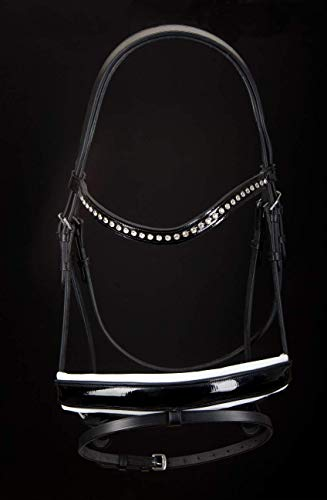 (Evason Dressage Snaffle Bridle - Patent Leather Wide Noseband for Even Pressure - Crystal Browband, Anatomical Design with Curved Caveson - Black and White)
