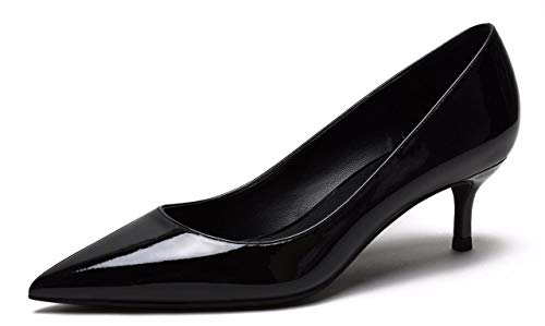 CAMSSOO Women's Low Heel D'Orsay Slip On Pointed Toe Dress Pumps Shoes Black PU Size US9 EU42