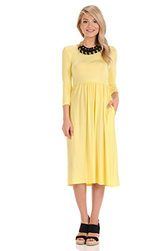 iconic luxe Women's Solid Fit and Flare Midi Dress with Pockets X-Large Banana ()