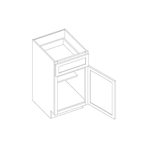 Kitchen Cabinet Shaker White Designer Base All Wood with Soft Close Hinges and Drawer Glides B15 ()
