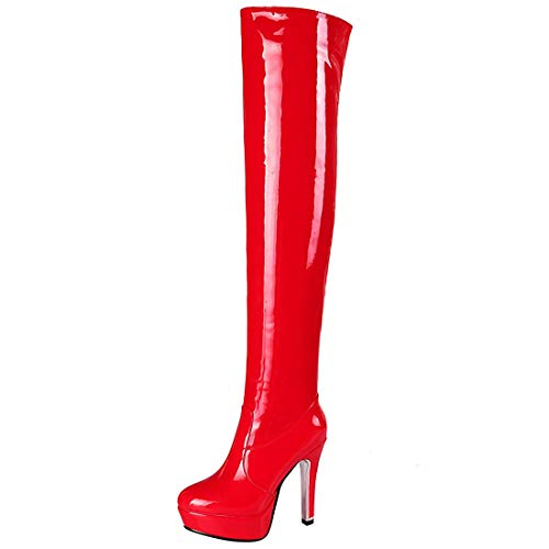 Vitalo Womens Over The Knee Patent Thigh High Heel Platform Boots with Zipper Size 7.5 B(M) US,Red