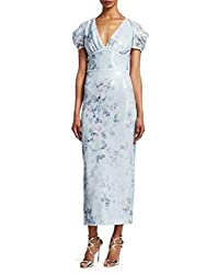 Women's Short Sleeve Printed Sequin Midi_Tea Dress