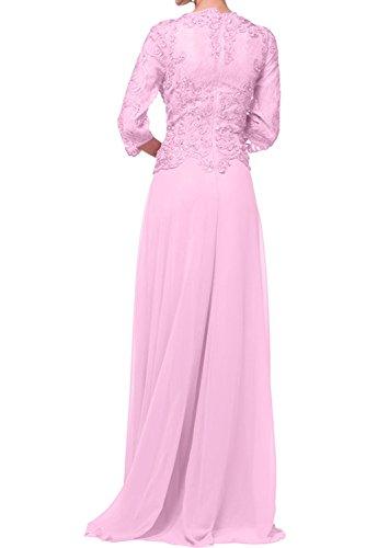 mia Braut Abendkleider Brautmutterkleider Langarm Ausschnitt V La Promkleider Flieder Bodenlang Weiss Damen 4C5Aq