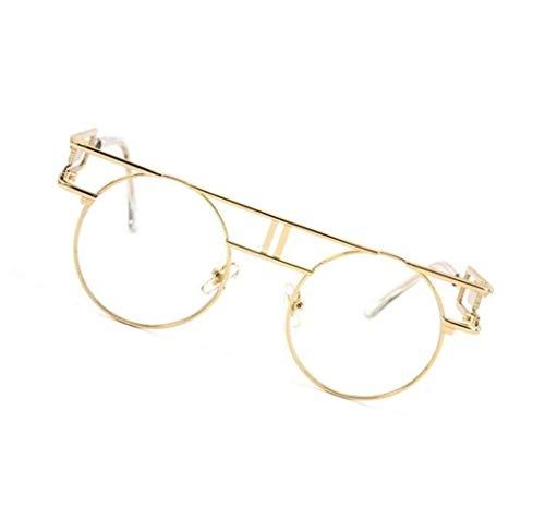 Protección para Marco de Mujeres Gafas Redondo Hombres viajar Moda Golden Decoración sol UV400 Gafas Guay Huyizhi Gafas wq7fpn