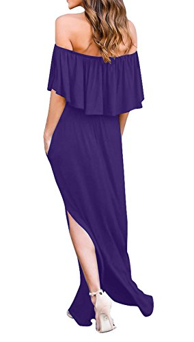 Lotus Simple Fashion C Fte Unie avec t Robes Plage Feuille t lgante Violet Robe Couleur Soire Long Bateau Cocktail Robes de Maxi de Femmes Fendue de Casual Col Fashion rrqAZd
