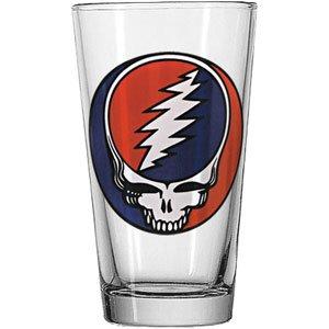 ICUP Grateful Dead Stealie Pint Glass, Clear