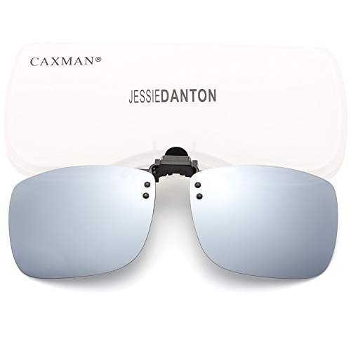 CAXMAN Polarized Clip On Sunglasses Over Prescription Glasses for Men Women UV Protection Flip Up Silver Mirrored Lens Extra Large (Maximum Uv Protection Sunglasses)
