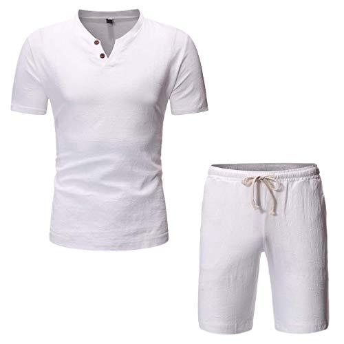 Lefthigh Beach Tops+Pants Casual Suit, Men's Summer Fashion Comfortable Cotton Linen Set White