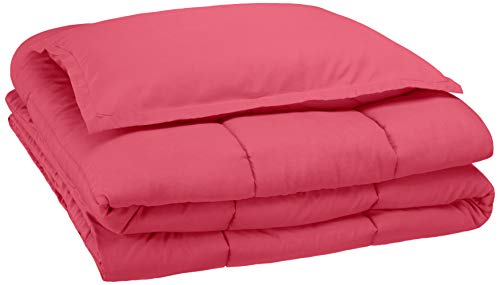 AmazonBasics Easy-Wash Microfiber Kid's Comforter and Pillow Sham Set - Twin, Hot Pink